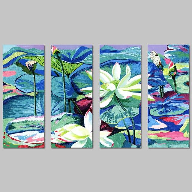 4 Pcs Big Size Impressionism White Lotus Leaf Decoration Wall Art Pictures Canvas Paintings For Living  sc 1 st  AliExpress.com & 4 Pcs Big Size Impressionism White Lotus Leaf Decoration Wall Art ...