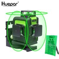 Huepar 12 линиий, лазерный аппарат для нивелирования 3D,12 линий, поперечный лазерныйлуч, горизонтальный зеленыйлазерныйлуч, 3x360,вертикальный и г...