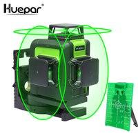 Huepar 12 Lines 3D Cross Line Laser Level Green Laser Beam Line Self Leveling 360 Vertical & Horizontal Cross Super Powerful