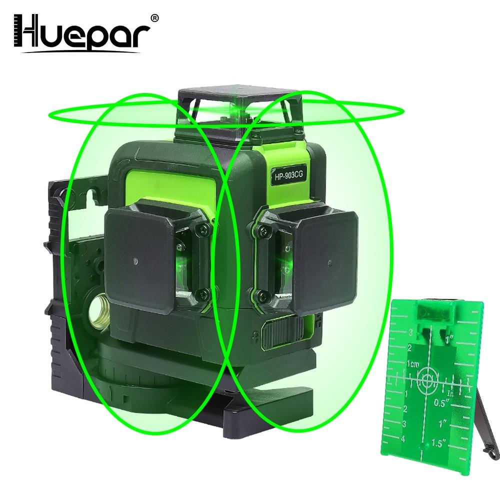 Huepar 12 linhas 3d cruz linha laser de nível verde feixe de laser linha auto-nivelamento 360 vertical & horizontal cruz super poderoso