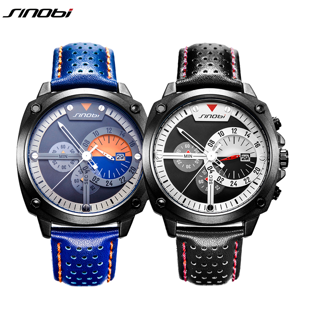 SINOBI Luxury Men Sport Watches Chronograph Leather