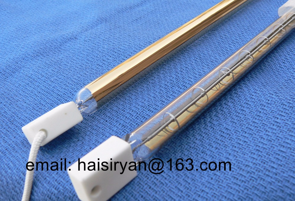 back side gold coating short wave IR emitter halogen lamp infrared resistance tube heater element quartz heating bulb for drying цена
