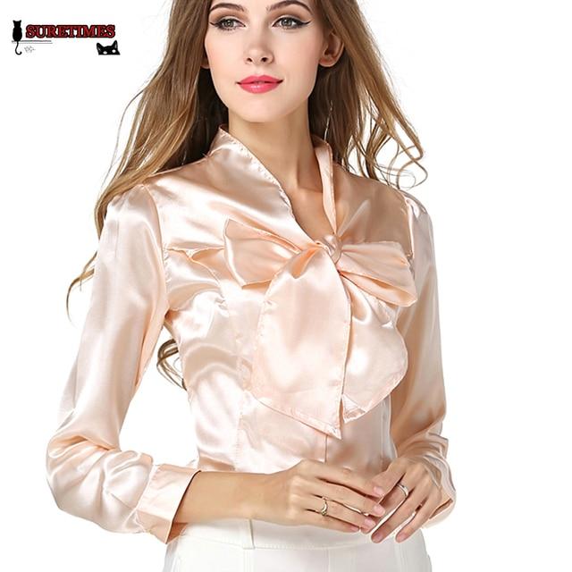 OL Elegante Camicetta Slim di Moda seta Raso 2017 New Donna camicia CqxP5POw