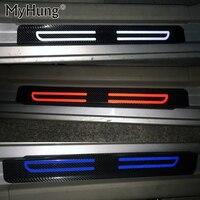 Carbon Fiber Reflective Car Door Sill Stickers For Ford FIESTA Focus Mondeo KUGA ESCAPE ECOsport EDGE