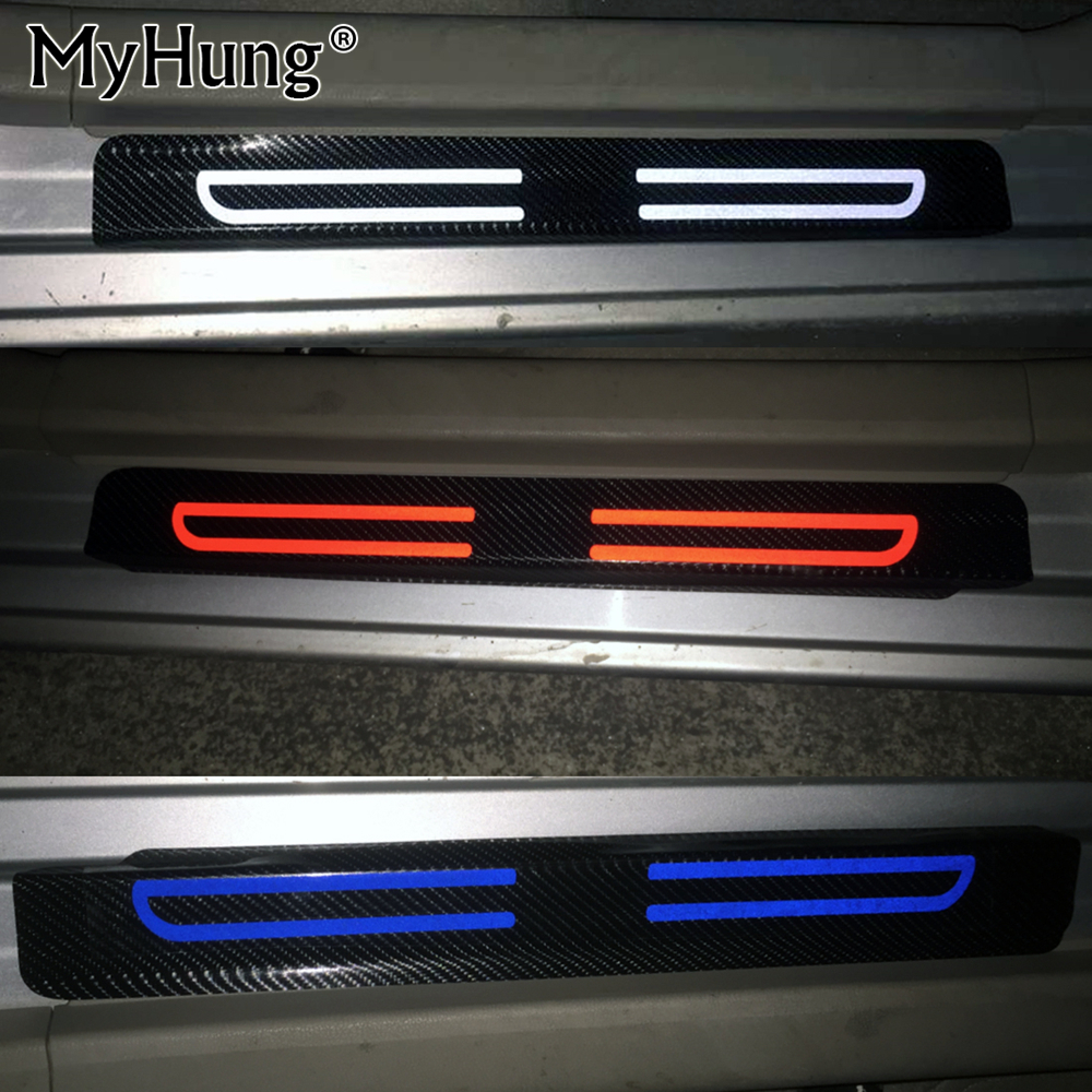 Carbon Fiber Reflective Car Door Sill Stickers For Ford FIESTA Focus mondeo KUGA ESCAPE ECOsport EDGE limited Car-Styling 4Pcs ouzhi for ford focus 2 3 mondeo fiesta f150 orange brown brand designer luxury pu leather front