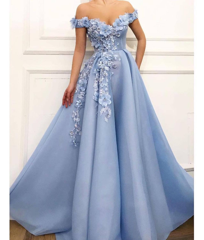 Tulle une ligne épaule dénudée robe De soirée perles fleurs bleu ciel robe De soirée robe De bal robe longue De Festa