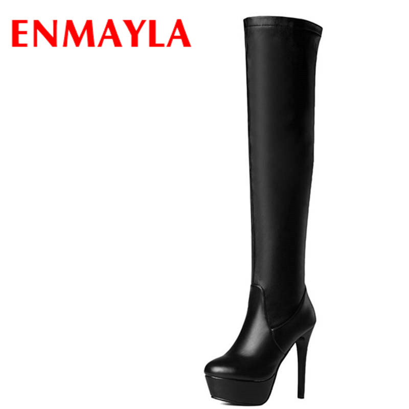 ENMAYLA New Winter Autumn Shoes Woman <font><b>Sexy</b></font> Lace <font><b>Extreme</b></font> <font><b>High</b></font> <font><b>Heels</b></font> Knee <font><b>High</b></font> <font><b>Boots</b></font> Women Slip-On Platform <font><b>Boots</b></font> Large Size Shoes image