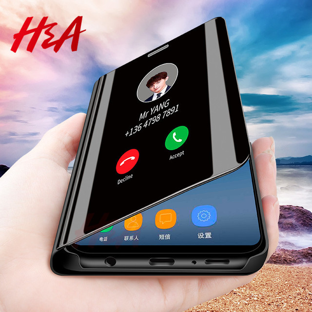 H & A Thông Minh Gương Lật Trường Hợp Đối Với Huawei P20 Lite Pro Honor 10 9 8 Lite P10 P9 Người Bạn Đời 20 Nova 3E P Thông Minh Cộng Với Bảo Vệ P8 Lite Trường Hợp