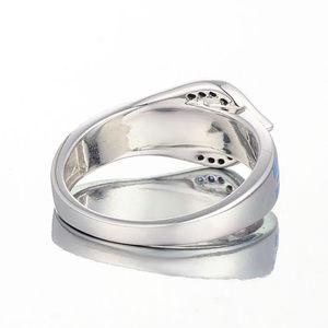 Image 5 - Anel de cobra de prata para as mulheres azul pedra azul artesanal esmalte anéis puro 925 prata esterlina moda jóias