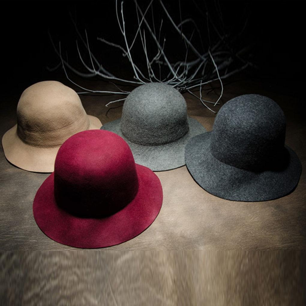 Winter Autumn Ladies Solid Color Bucket Hat Women Wool Warm Round Top Cap Fisherman Cap