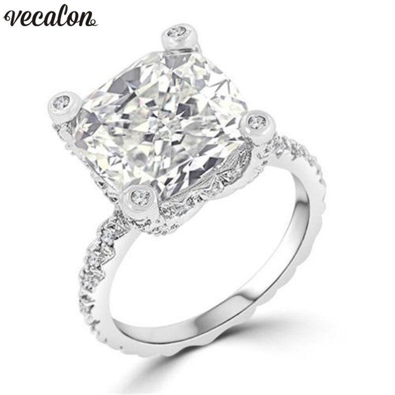 Vecalon Unique Design ring 925 Sterling silver cushion cut ...