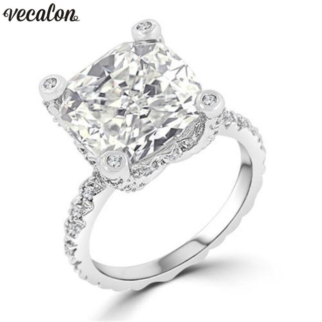 Us 4 74 5 Off Vecalon Unique Design Ring 925 Sterling Silver Cushion Cut Aaaaa Cz Engagement Wedding Band Rings For Women Men Jewelry In Engagement