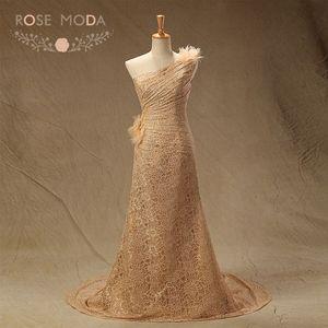 Настоящая фотография Высокое качество одно плечо Champagne Gold Кружево Русалка мать невесты платье фрейлины платье индивидуальный заказ