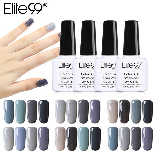 Elite99 10 ml Nail art Gel Grau Farbe UV LED Gel Nagellack Lange anhaltende Tränken Weg Lack 4 teile/los Gel Lack