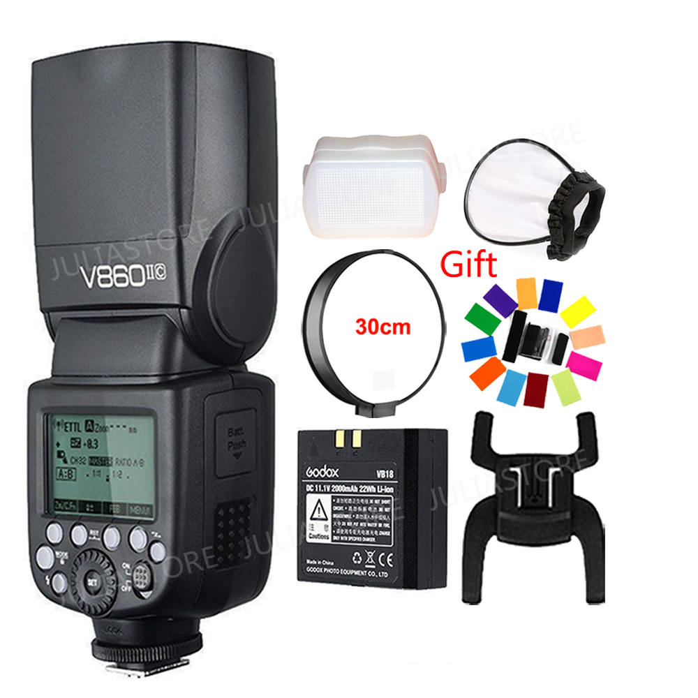 Godox Ving V860II V860II-S/N/C/F/O GN60 E-TTL HSS 1/8000 Li-ion Battery Speedlite Flash for Sony Nikon Canon Olympus Fujifilm 2pcs godox v860ii ttl speedlite flash gn60 hss 1 8000s with li ion battery x1t c n f s for canon nikon sony fujifilm olympus