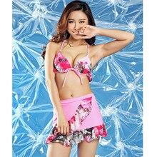 Pretty girl bikini swimsuit sexy female biquini vintage bathing suit Low waist short skirt bottom floral bikini swimwear
