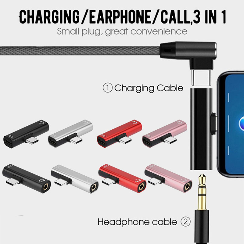 Type C 2 In 1 To 3.5mm Jack Earphone Headphone Headset Charging Converters USB Type-C Splitter Audio Adapters For XIAOMI HUAWEI
