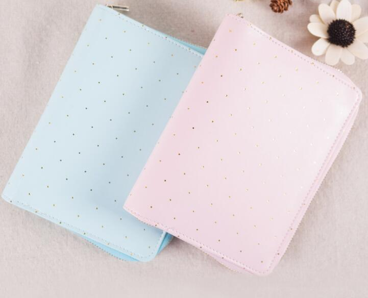 Sweet Light Pink Blue Color Girls Dreaming Journal Book Zipper Bag Fashion A6 Diary DIY Planner 15*19cm Free Shipping