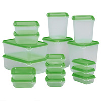 17pcs Set Plastic Food Storage Refrigerator Crisper Microwave Lunch Boxes 7 Sizes Green Light Green Plastic