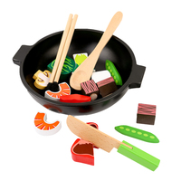 19pcs Baby Toys Super Cute Simulation Vegetable Hot Pot Wooden Cutting Toys Play Food Pretend Play Food Set Birthday Gifts