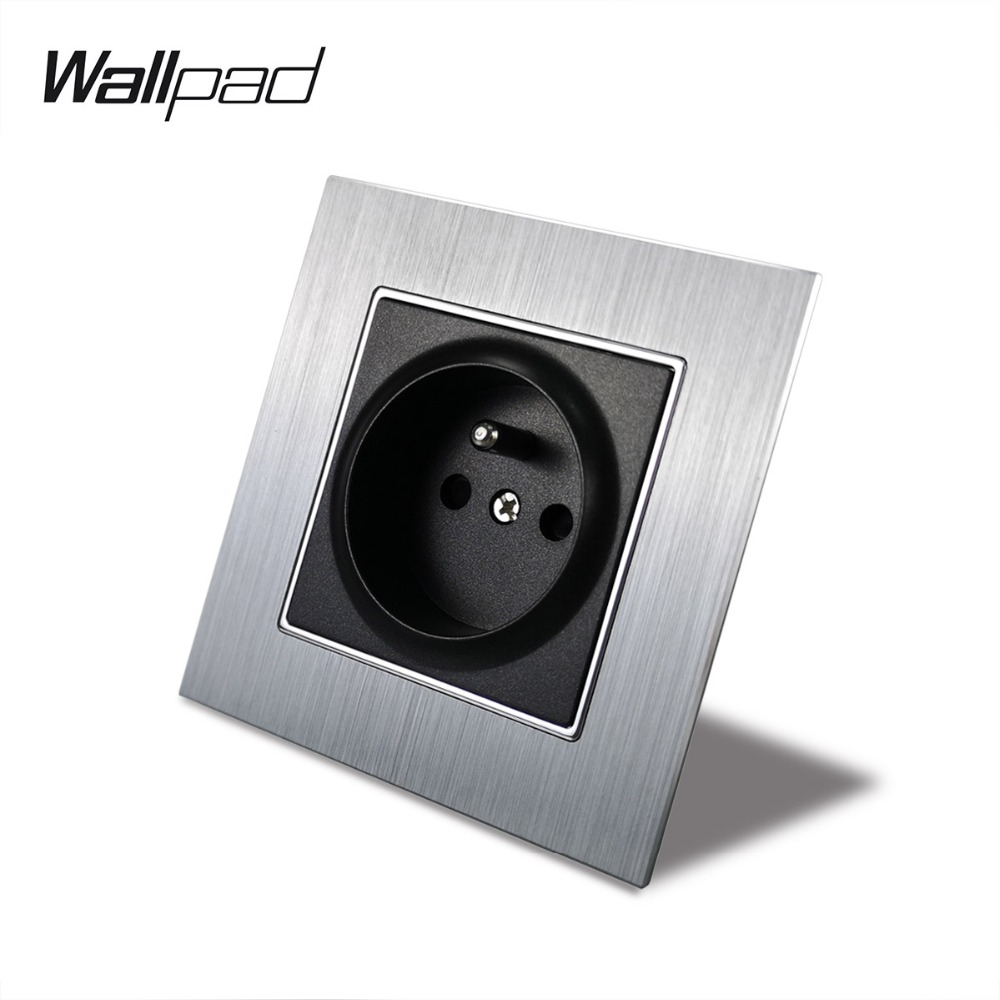 Metal French Socket with Claws Back Wallpad 86*86mm 110V-240V AC Silver Satin Metal Panel Wall Power Supply 16A SocketMetal French Socket with Claws Back Wallpad 86*86mm 110V-240V AC Silver Satin Metal Panel Wall Power Supply 16A Socket