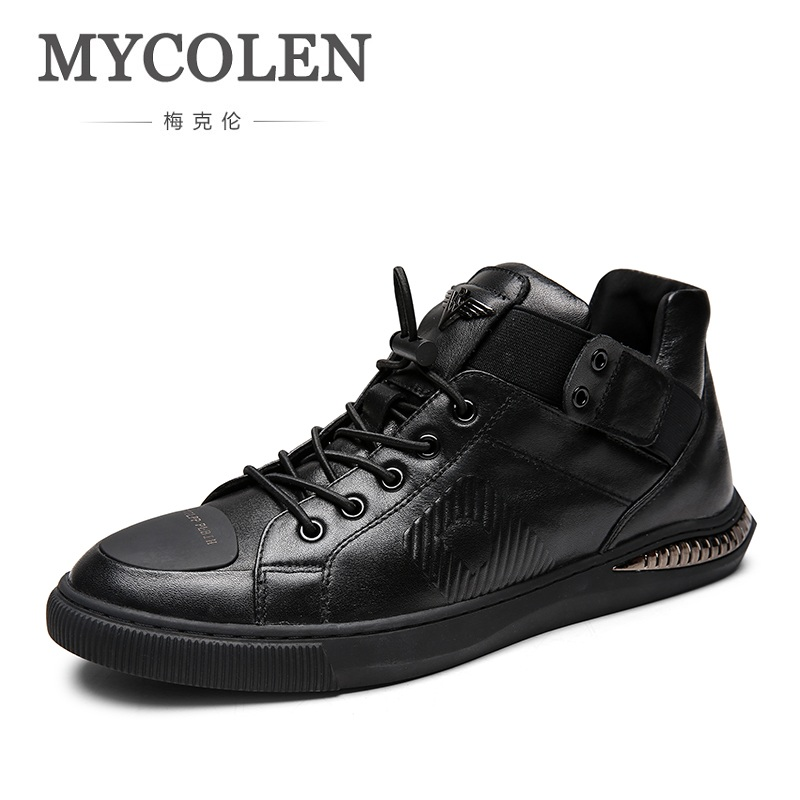 MYCOLEN 2018 New Shelves Spring Autumn Shoes Men Comfortable Leather Men Shoes Fashion Lace-Up Casual Sneakers Schuhe Herren