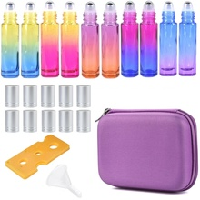5/7/10 Packs 10ML Rainbow Color THICK Glass Roller Bottles Steel Big Roll On Ball for Essential Oils