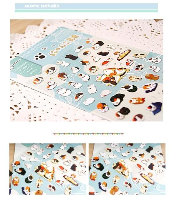 MQStyle 1Sheet New Cat Teacher Natsume Friends Account Account Journal Decoration Hand Print Sticker H0215