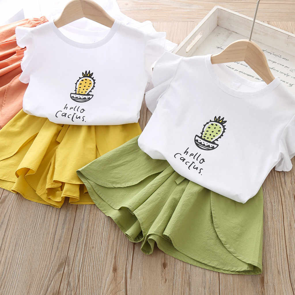 Fashion Kids Clothes Girls Toddler Baby Girl Kid Letter Printed Sleeveless T Shirt Tops Shorts Outfits Set roupa infantil menina