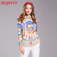 Sicily Print Casual Blouse 2017 Spring Summer Fashion Turn Down Collar Single Breasted Plus Size XXXL