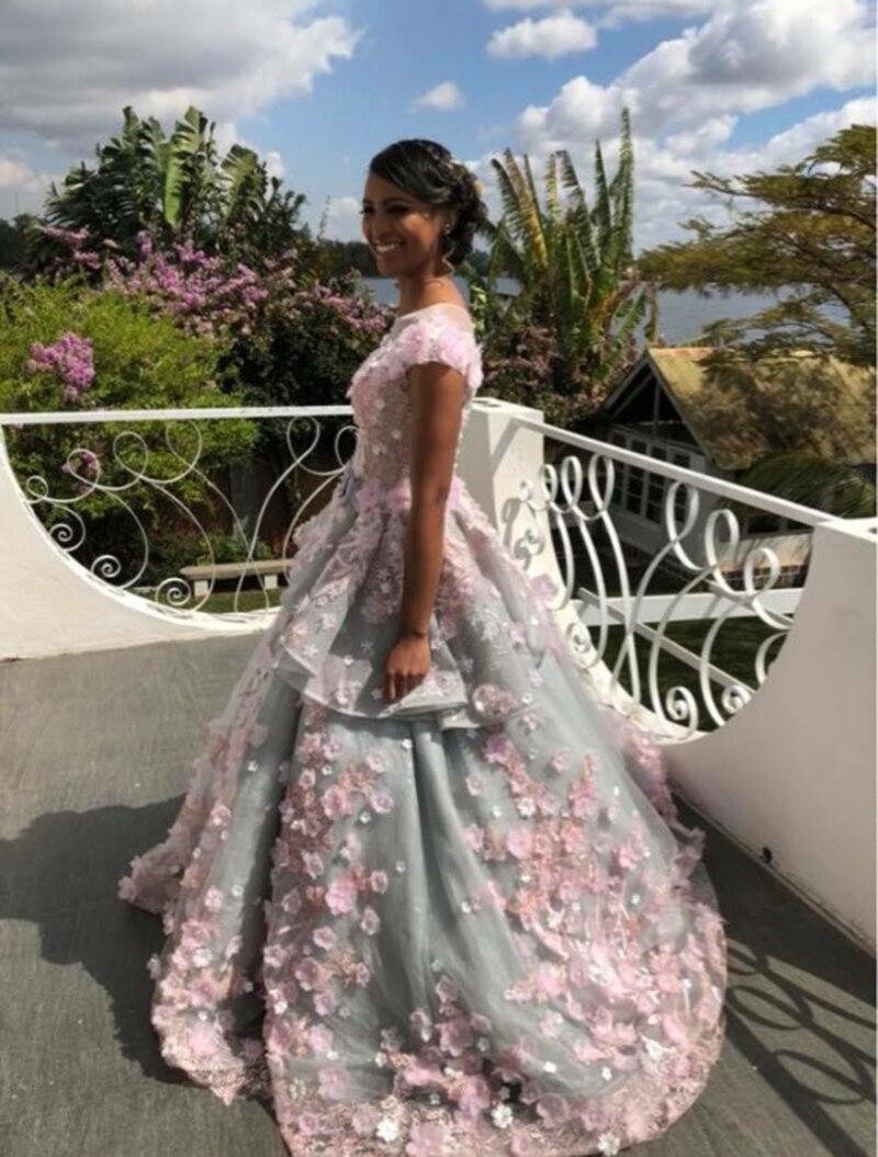 LS83920 evening gown zipper back beaded organza ball gown long evening dress abendkleider lang pink flowers grey robe de soiree