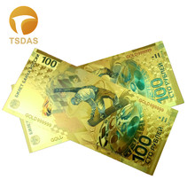 Wholesale New Russia Colorful 24K Gold Banknote 100 Ruble Fake Money 10pcs lot For Business Gift
