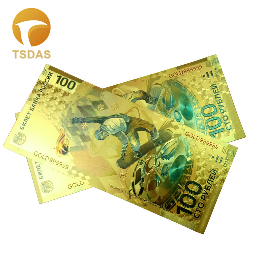 Wholesale New Russia Colorful 24K Gold Banknote 100 Ruble Fake Money 10pcs/lot For Business Gift
