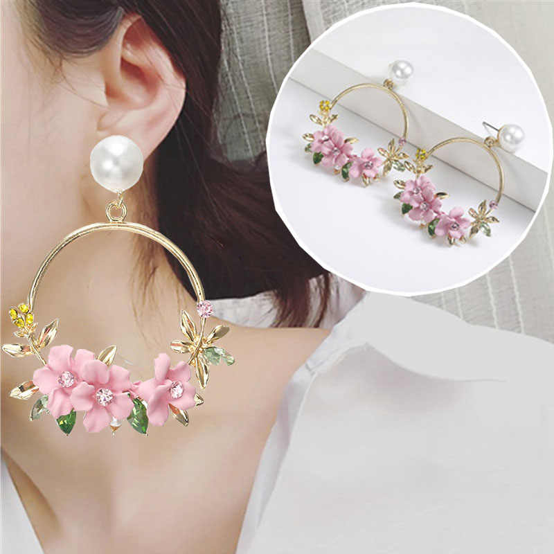 1 pair New Korean Crystal flower circle pearl Zircon earrings  for women girl party jewelry women's earrings