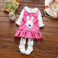 Las niñas se visten 2 unids 2017 baby & kids nueva estación de la edad de sweet girl tutú impresa algodón de manga larga niños del vestido del bebé lindo conejo vestido