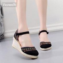 Veowalk Bohemianผู้หญิงรองเท้าผ้าใบEspadrillesรองเท้าแตะHandmadeผ้าลินินข้อเท้า 7 ซม.แพลทฟอร์มสบายรองเท้า