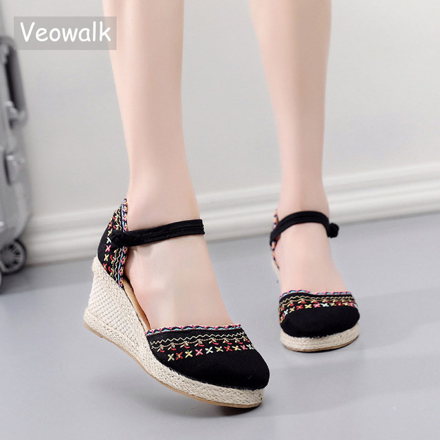 Veowalk Bohemian Women Canvas Wedge Espadrilles Sandals Handmade Linen Ankle Strap 7cm High Heel Platforms Comfort Summer Shoes