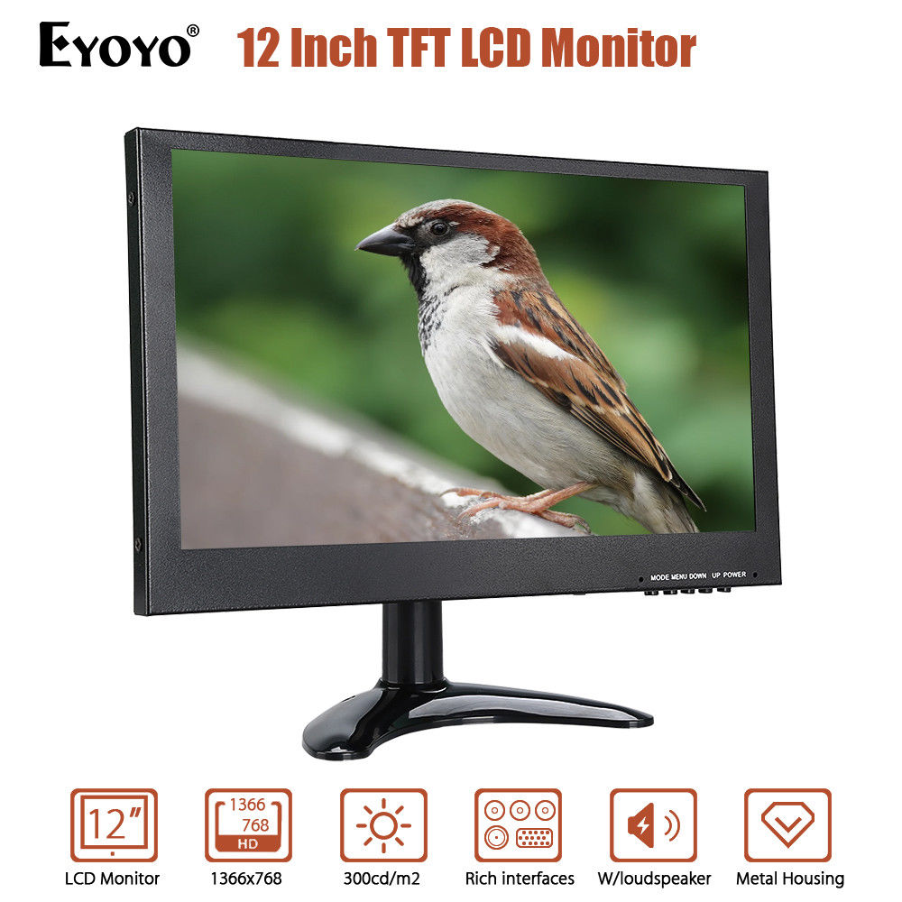 EYOYO 12 1366x768 TFT LCD Monitor 8WX2 With VGA HD BNC AV USB Input Built-in Dual Loudsp ...