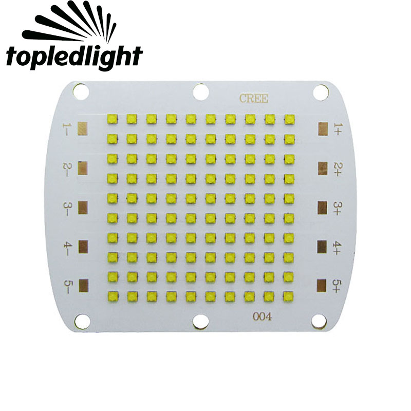 Topledlight DIY Cree XBD 100W Led Emitter Light White 6000-6500K / Warm White 3000-3500K 30-34V 750mA 82x66MM Copper PCB Board 114w cree cxa3070 cxa 3070 white 5000k warm white 3000k led emitter lamp light with plastic led holder