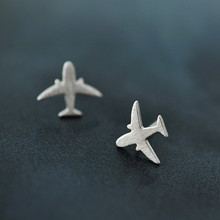 100% 925 Sterling Silver Prevent Allergy Airplane Stud Earrings for Women Wedding Earrings Jewelry brincos(China)