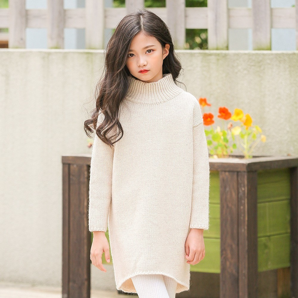 Knitted Girls Dress Long Sleeve Winter Autumn Long Knitting Sweater Baby Girl Dresses Clothes Kids Clothing Fashion Princess kohuijoo autumn winter women sweater dress medium long 2018 korean warm knitted geometric dress half turtleneck long sleeve sexy