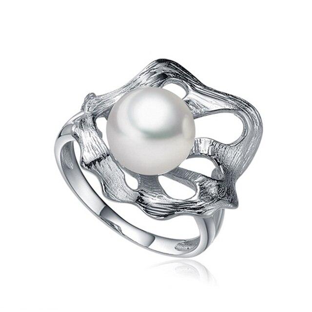 Синя Серебряный жемчуг кольцо с 9-9.5 мм естественный пресноводный жемчуг стерлингового серебра 925 ювелирные изделия подарок для женщин любовника для свадьбы