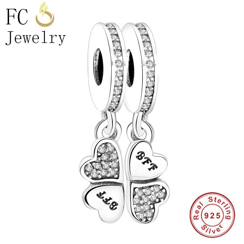 FC Jewelry Fits Original Pandora Charms Bracelet 925 Sterling Silver Four Hearts Clover Best Friends Pendant Beads DIY Berloque