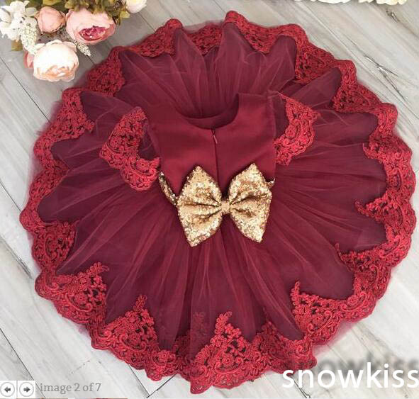 2017 cute red tulle kids girl wedding dress Crew neck short sleeve appliques gold sequin sashes bow knot flower dress for party