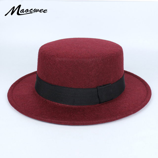 New Pork Pie Hat Men Tan Wool Fedora Hats Winter Bowler Women Brown Felt  Fedoras Hat Ribbon Bowknot Top Woolen Caps Wholesale c91f8e29a08