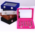 Velvet Jewelry Rings Earring Cufflinks Display Show Case Organizer Tray Storage Box Case Holder With Glass Cover Lid 20.2*10*5cm
