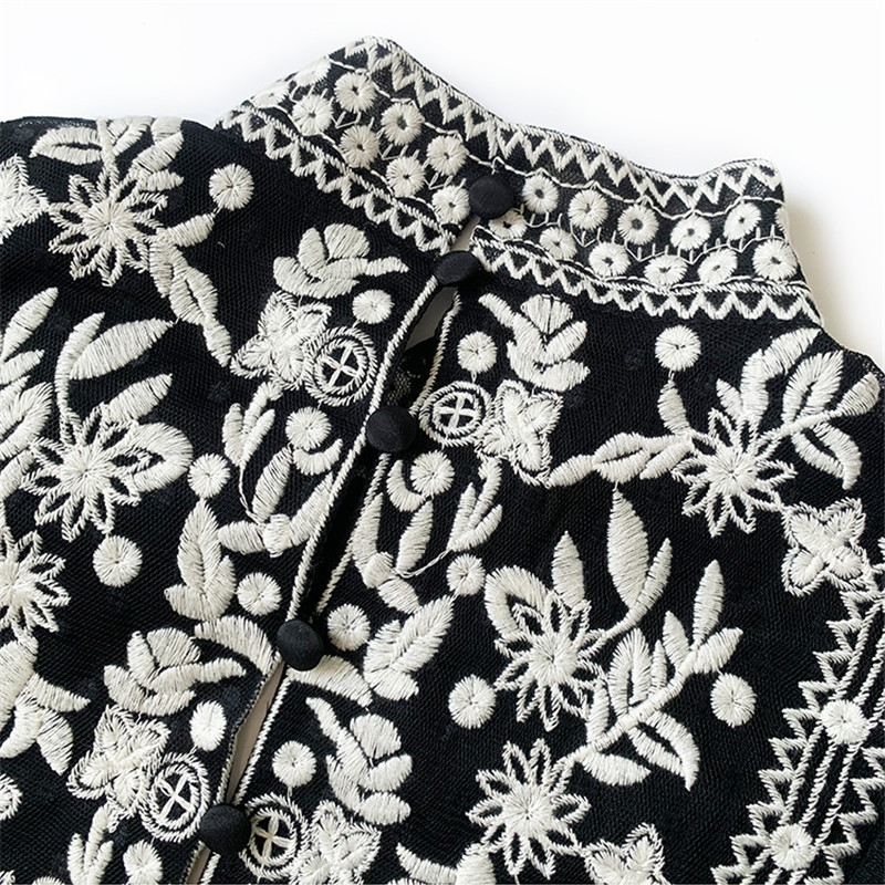 women hollow out lace shirt 2019 new sexy deep V neck seventh sleeve lace embroidery elastic waist 100% cotton short blouse - 5