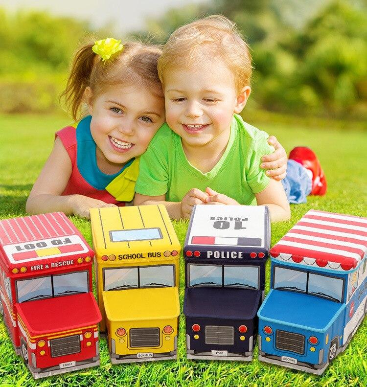Multi-fonction pliant boîte de rangement voiture style tabouret enfants boîte de rangement Cartoon jouets voiture tabouret Non-tissé boîte de rangement