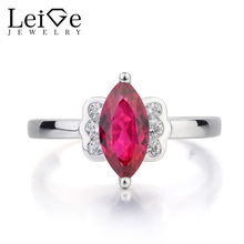 Leige Jewelry Ruby Wedding Ring Red Ruby Ring July Birthstone Marquise Cut Red Gemstone Solid 925 Sterling Silver Romantic Gifts
