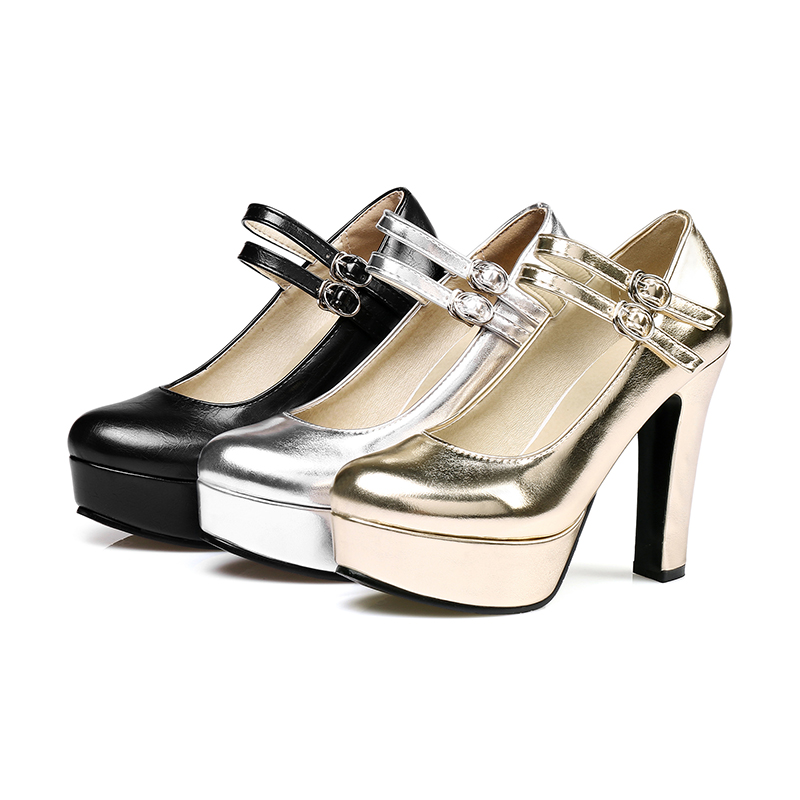 Chainingyee sexy party round toe pumps fashion belt buckle glitter platform  gold silver black high thick heel women s shoes-in Women s Pumps from Shoes  on ... 6a1486d8db1f